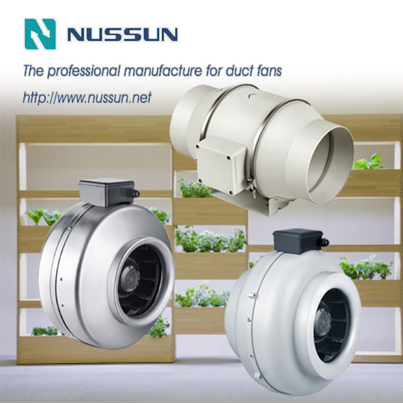 Mixed flow inline duct fan for grow tent ventilation(DJT31UM-66P)